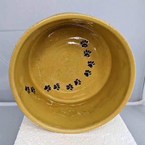 PAW PRINTS PET BOWL - Yellow Celadon