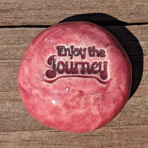 ENJOY THE JOURNEY Pocket Stone - Cherry Red
