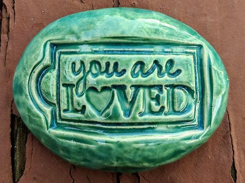 YOU ARE LOVED Pocket Stone - Aquamarine