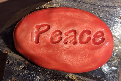 PEACE Pocket Stone - Fire Engine Red