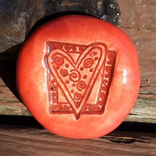 ZENTANGLE HEART Pocket Stone - Scarlet Red
