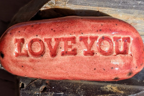LOVE YOU Pocket Stone - Strawberry Red