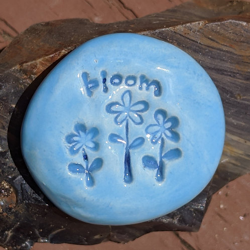 BLOOM with FLOWERS Pocket Stone - Sky Blue