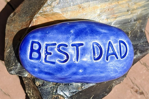 BEST DAD Pocket Stone - Vivid Blue