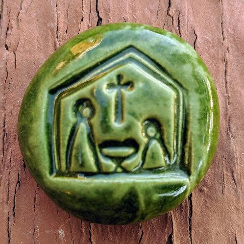 NATIVITY Pocket Stone - Holly Green