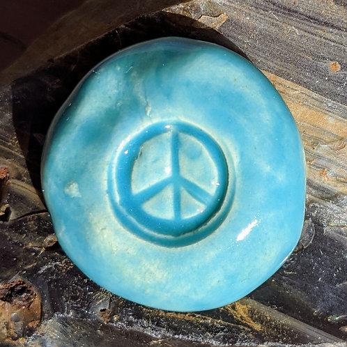 PEACE SIGN Pocket Stone - Aquamarine