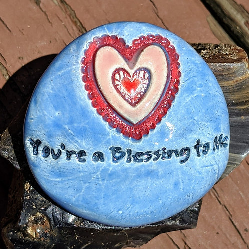 You're a BLESSING to ME w/ HEART Pocket Stone - Bluebonnet