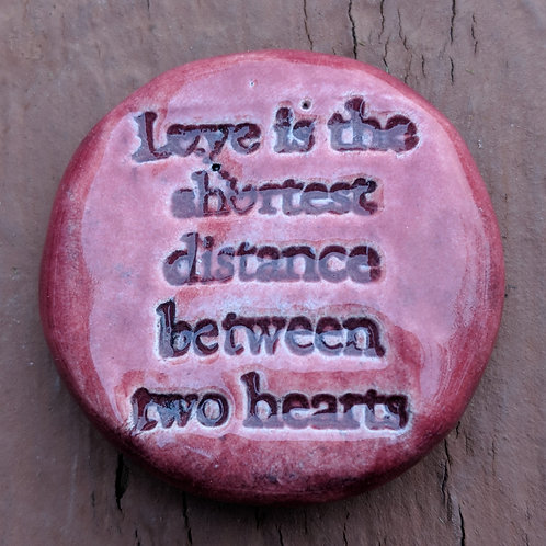 LOVE QUOTE Pocket Stone - Cherry Red