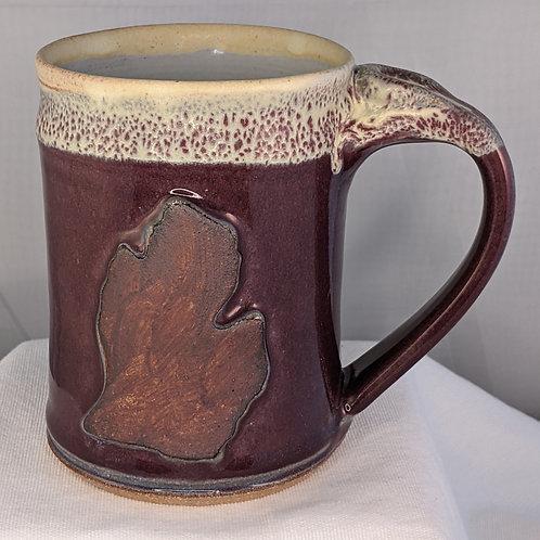 MICHIGAN MUG (LOWER PENINSULA) by TC Pottery Studio - Plum Crazy