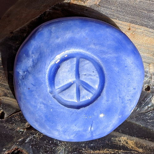 PEACE SIGN Pocket Stone - Medium Blue
