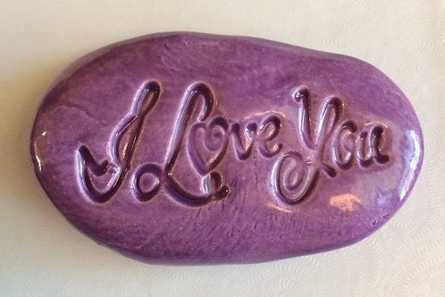 I LOVE YOU Pocket Stone - Amethyst Purple