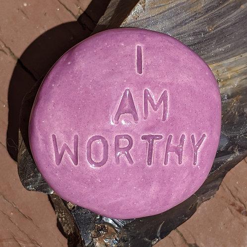 I AM WORTHY Pocket Stone - Purple