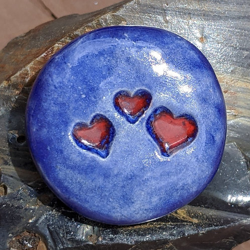 THREE HEARTS Pocket Stone - Exotic Blue