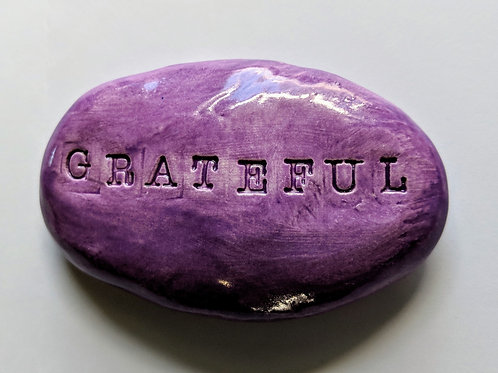 GRATEFUL Pocket Stone - Amethyst Purple