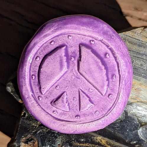 PEACE SIGN Pocket Stone - Amethyst Purple