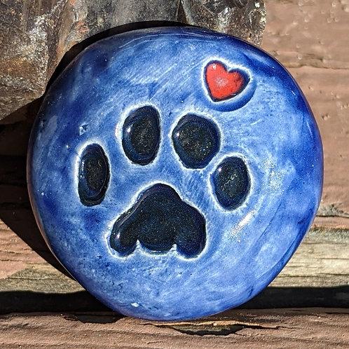 PAW PRINT w/HEART Pocket Stone - Midnight Blue