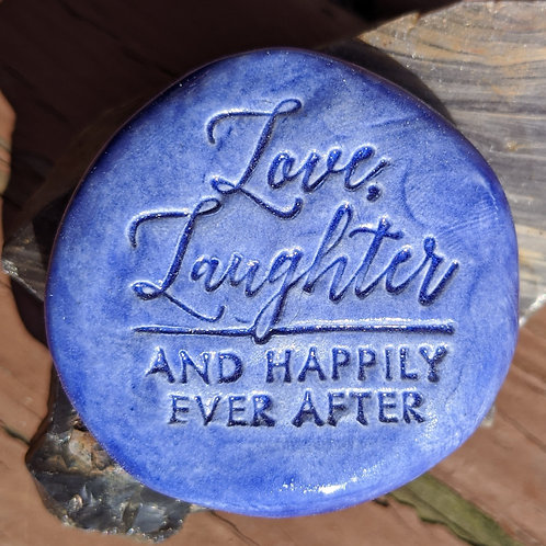 LOVE, LAUGHTER AND HAPPILY EVER AFTER Pocket Stone - Midnight Blue