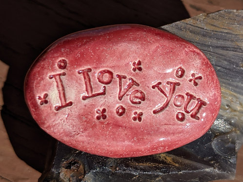 I LOVE YOU Pocket Stone - Sirocco Red