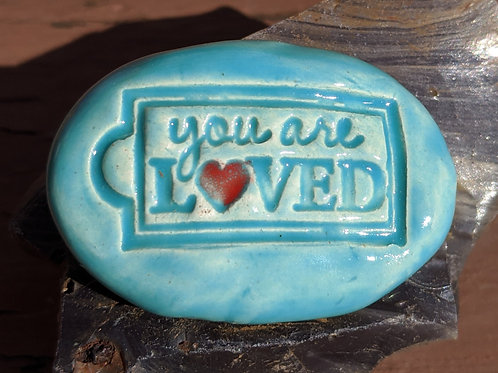 YOU ARE LOVED Pocket Stone - Bluebell