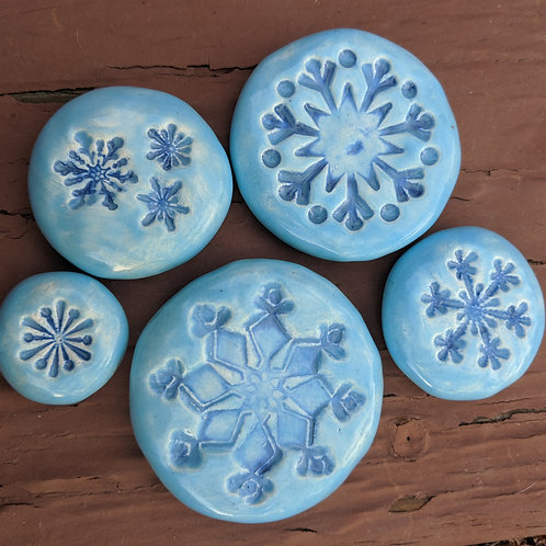 SNOWFLAKE Collection - Pocket Stones - SKY BLUE