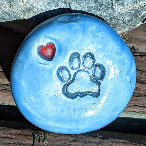 PAW PRINT w/HEART Pocket Stone - Bluebonnet
