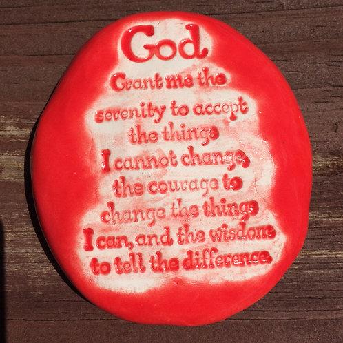 SERENITY PRAYER  Pocket Stone - Fire Engine Red