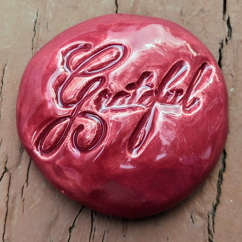 GRATEFUL Pocket Stone  - Raspberry Red