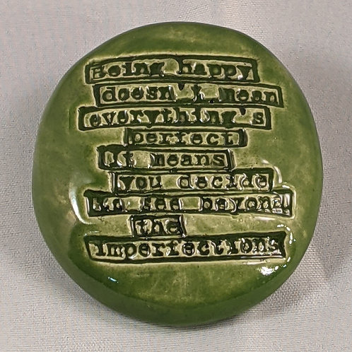 BEING HAPPY Quote Pocket Stone - Emerald Green