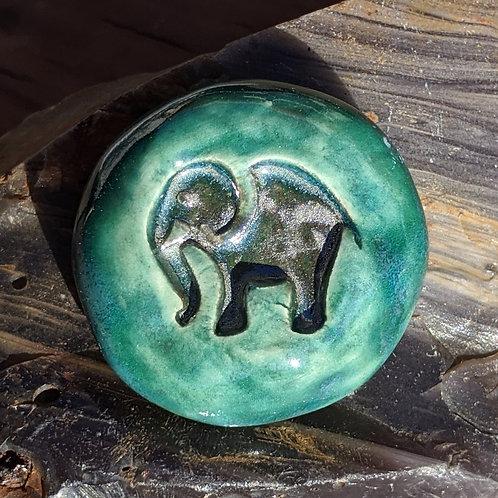 ELEPHANT Pocket Stone - Turquoise & Gray