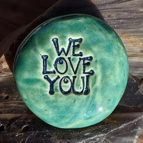 WE LOVE YOU Pocket Stone - Aquamarine