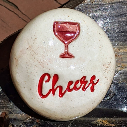CHEERS w/ WINE GLASS Pocket Stone - Red