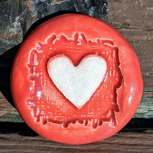 HEART Pocket Stone - Scarlet Red