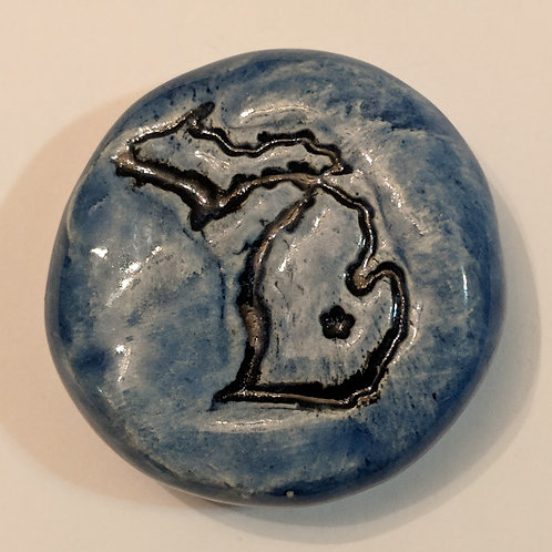 STATE of MICHIGAN Pocket Stone - Sapphire Blue