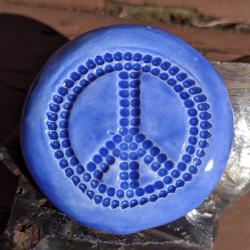 LARGE PEACE SIGN Pocket Stone - Sapphire Blue