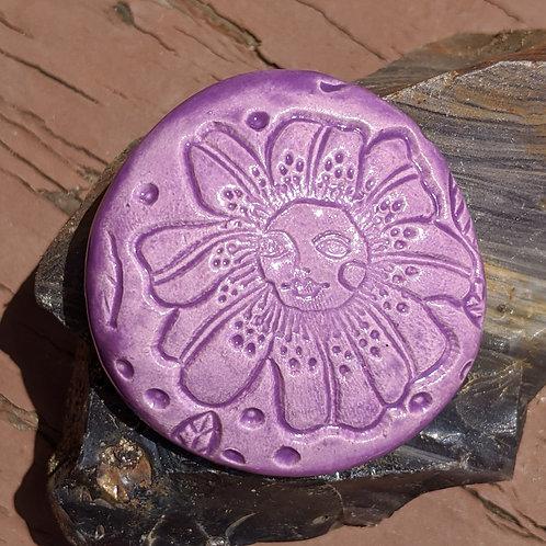 FLOWER W/ FACE Pocket Stone - Amethyst Purple