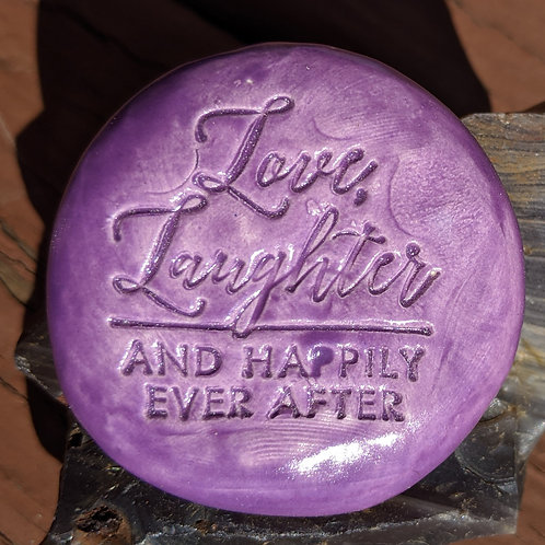 LOVE, LAUGHTER AND HAPPILY EVER AFTER Pocket Stone - Amethyst Purple