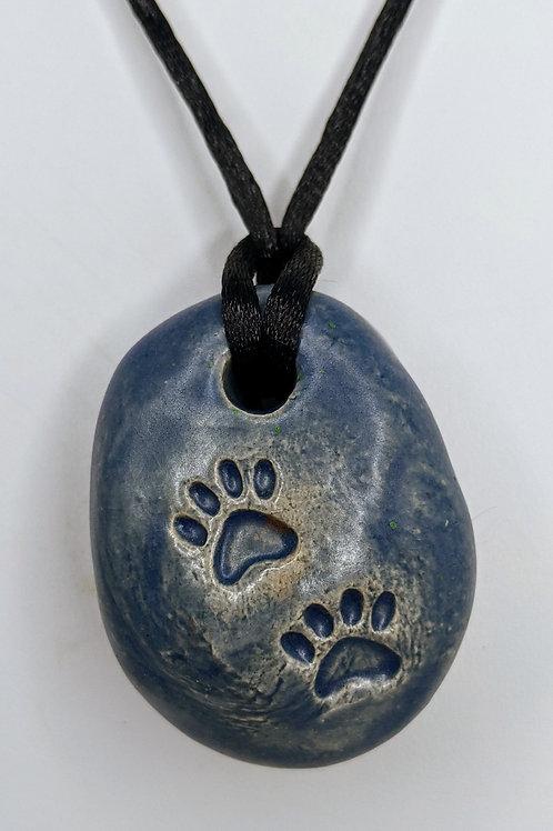 PAW PRINTS Necklace - Slate Blue