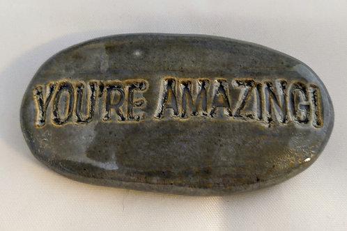 YOU'RE AMAZING! Pocket Stone - Antique Blue