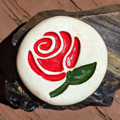 ROSE Pocket Stone - Hand-Painted