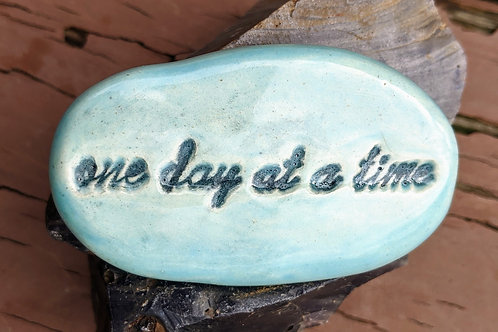 ONE DAY AT A TIME Pocket Stone - Bluebell