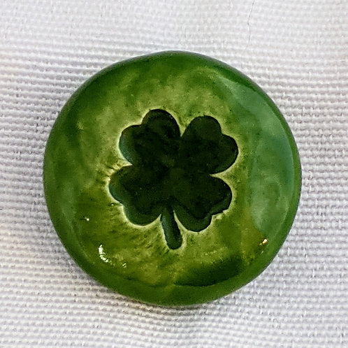 FOUR LEAF CLOVER Pocket Stone - Emerald Green