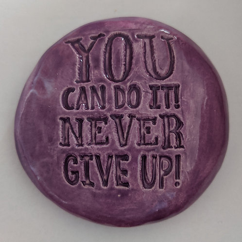YOU CAN DO IT! NEVER GIVE UP! Pocket Stone - Amethyst Purple