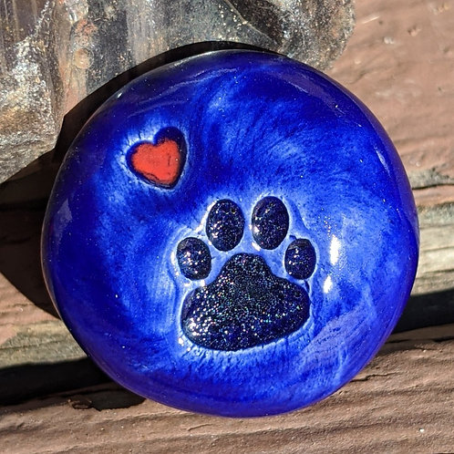 PAW PRINT w/HEART Pocket Stone - Midnight Blue