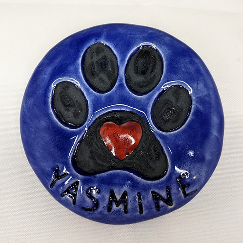 Personalized PAW PRINT & HEART Pocket Stone - Large