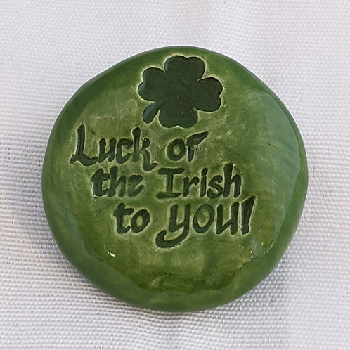 LUCK OF THE IRISH TO YOU! Pocket Stone - Emerald Green
