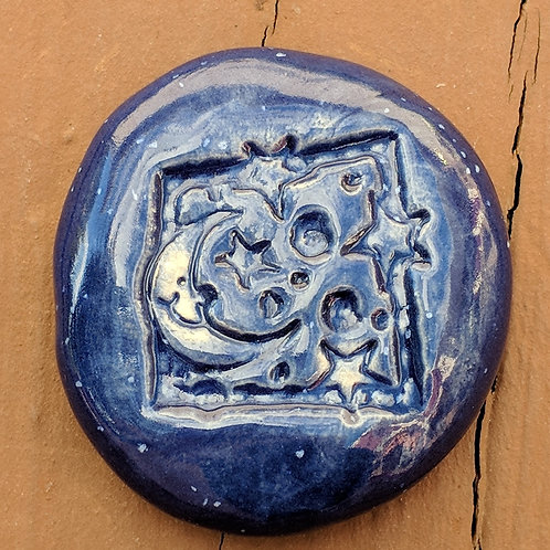 MOON  & STARS Pocket Stone - Enamelware Blue