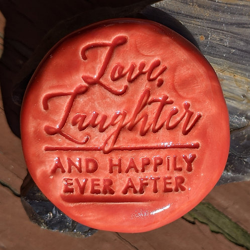 LOVE, LAUGHTER AND HAPPILY EVER AFTER Pocket Stone - Scarlet Red