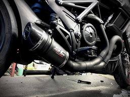 Custom modified Oval Muffler on this Ducati Diavel