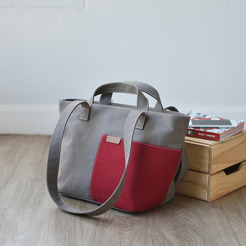 POCKET TOTE - GRAY+RED