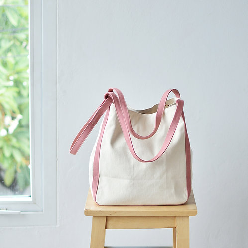 UP STRAP TOTE - OFF WHITE+PINK
